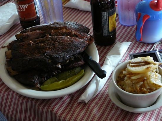 The Rib platter for two with a side of potato salad