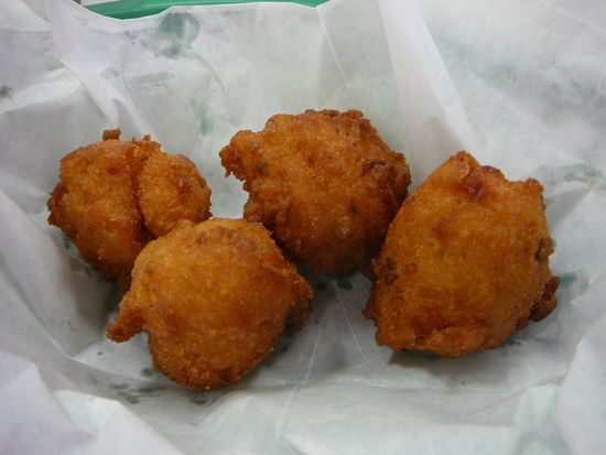 Hush Puppies (actually, there were more, but we couldn't wait)