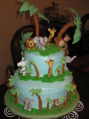 Jungle-theme-shower-cake