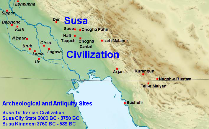004 Susa City State 1st Iranian Civilization, Antiquities Sites Iran Map